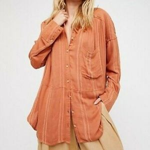 Free People Cozy Nights Orange Button Down Top